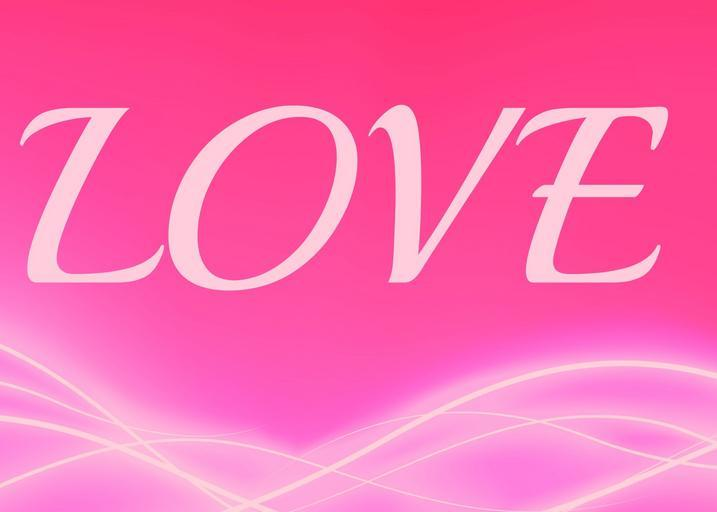 Nápis LOVE na ružovom pozadí