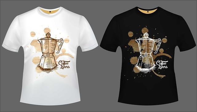 Biele a čierne tričko s potlačou mlynčeku na kávu.jpg